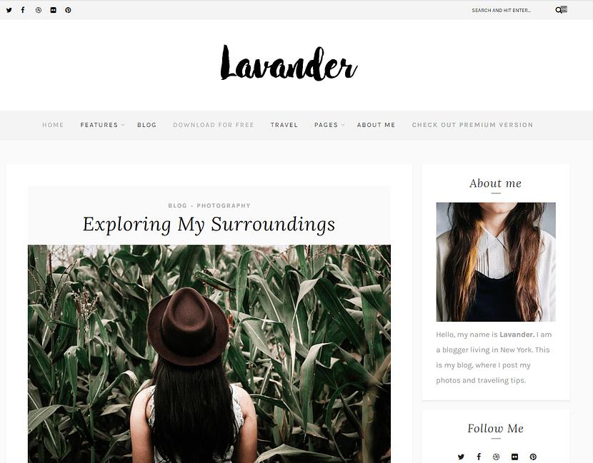 Lavander Lite WordPress無料テンプレート
