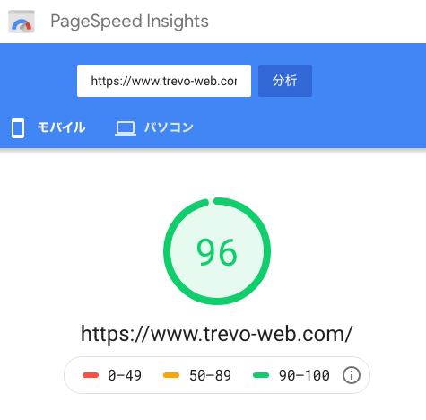 ホームページ制作 会社Trevoのpagespeedinsight mobile