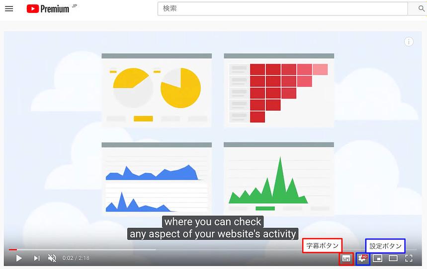 youtubeの字幕と設定ボタン